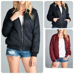 New-Women-039-s-Quilted-Jacket-Short-Bomber-warm-Jacket-Coat-S-l