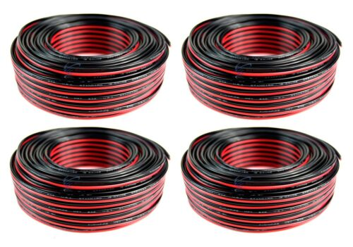 4 Rolls 18 Gauge 100 Feet Red Black Speaker Wire Copper Clad CCA 400 FT Total
