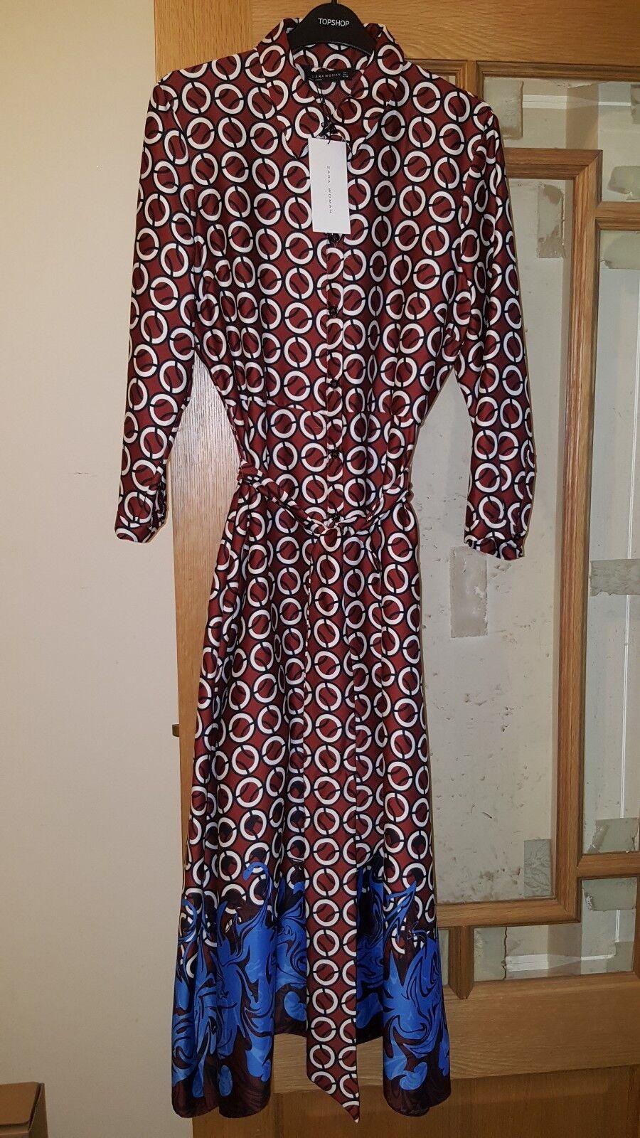 BNWT Zara geometrica melanzana rossa con CINTURA Camicia Tunica Abito Taglia Extra-Small XS