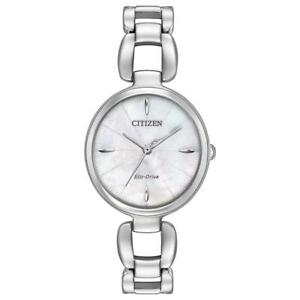 Citizen Eco-Drive Stainless Steel Mother of Pearl Ladies Watch EM0420-54D NEW