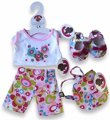 Teddy Bear Clothes fits Build a Ositos Flor Conjunto con GRATIS Bolsa & Zapatos