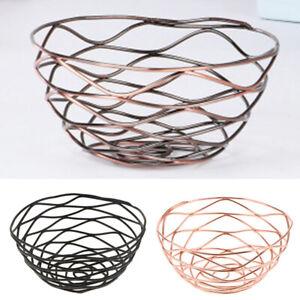 Iron-Wire-Storage-Basket-Fruit-Plate-Bread-Holder-Vegetable-Drain-Rack-Modern