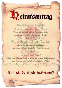 Heiratsantrag-Urkunde LAMINIERT- 8 Motive zur Auswahl; romantisch und süß