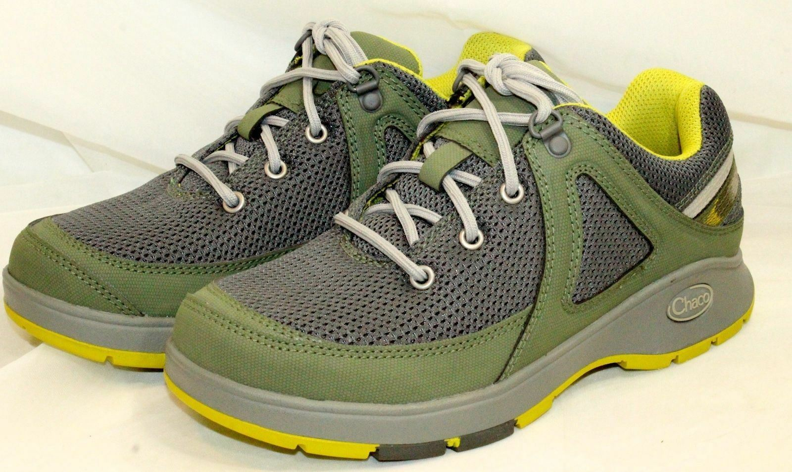Chaco Vika Women's 5.5 Hiking Sneakers New in Box Oilive w/ Yellow accents AT