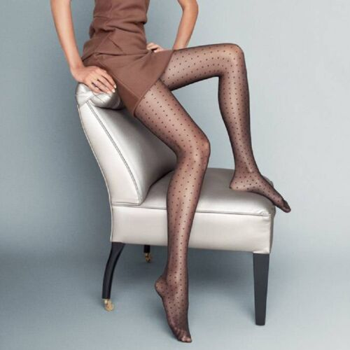 "Dotted Patterned Sheer Visone Black Tights/"" Puntini/"" 20 Denier S M L"
