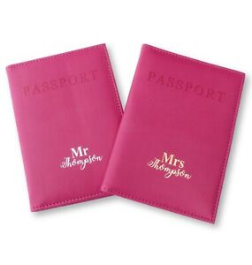 670252e9833b Details about PERSONALISED PINK PASSPORT COVER MR & MRS WEDDING TRAVEL GIFT  GOLD SILVER FOIL