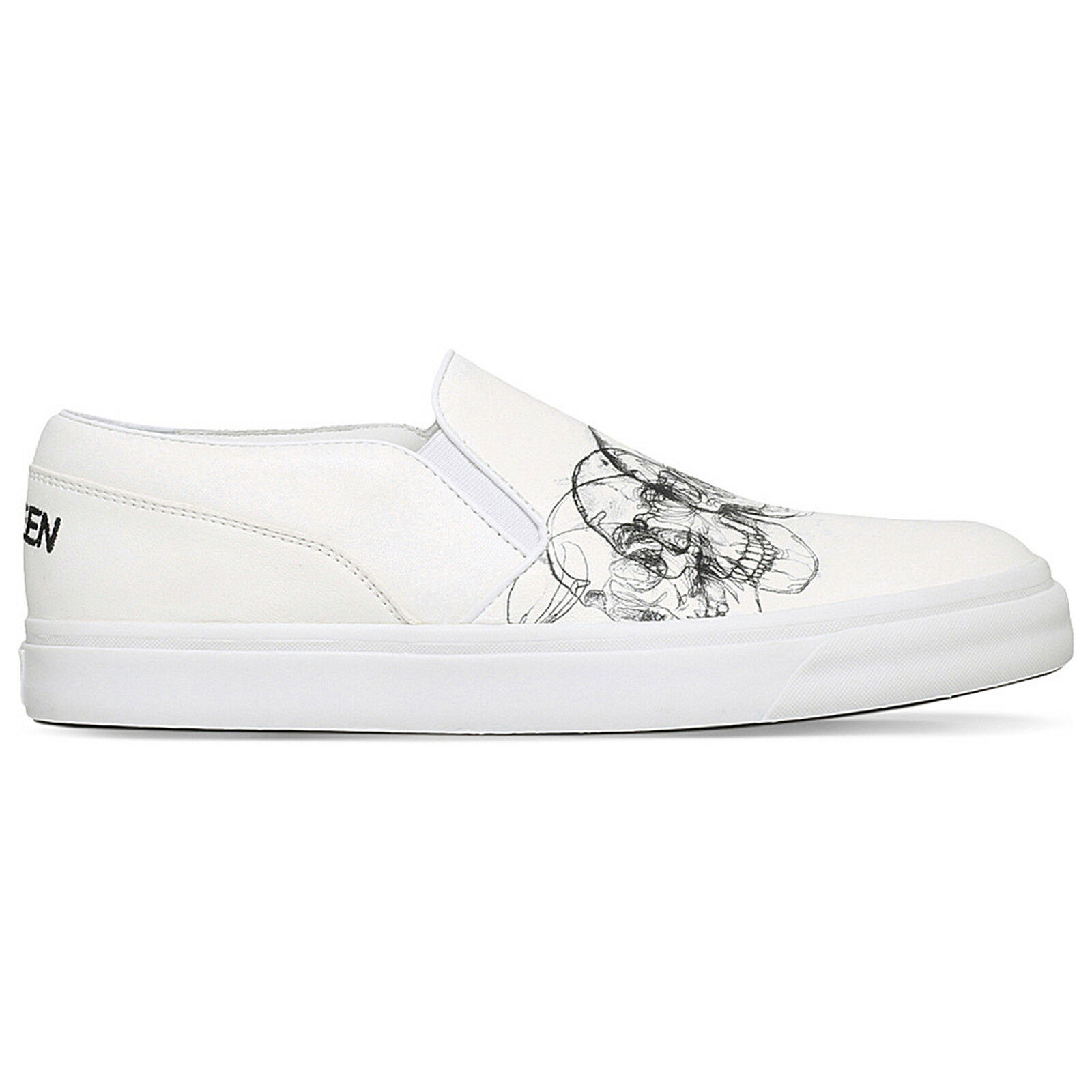 54ef7a4196e Alexander McQueen Leather Skull Print Slip-on Platform SNEAKERS ...