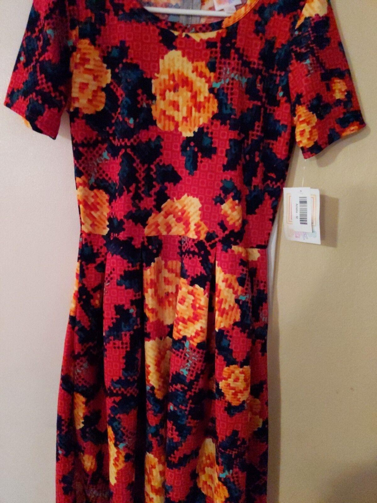 LuLaRoe AMELIA Bright Red Dress Floral Pixel Digital pinks Medium Med NWT Spring