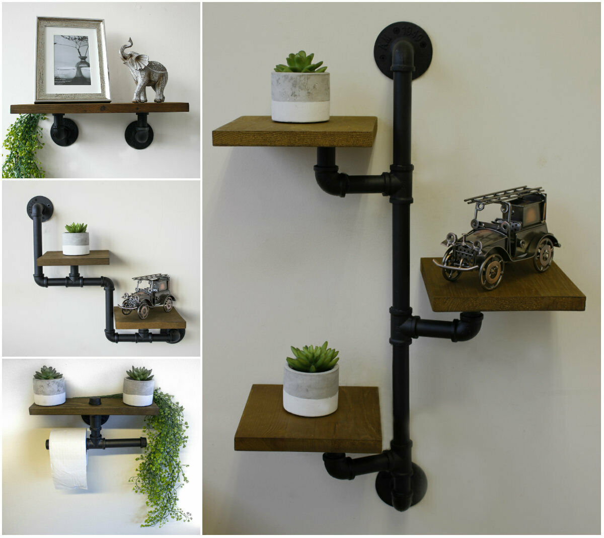 New Industrial Pipe Wood Shelf Wooden Book Shelving Unit Wall Mounted Shelves