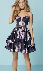 NWT-Short-beaded-formal-Navy-Print-Size-14-Homecoming-dress-Hannah-S-27154