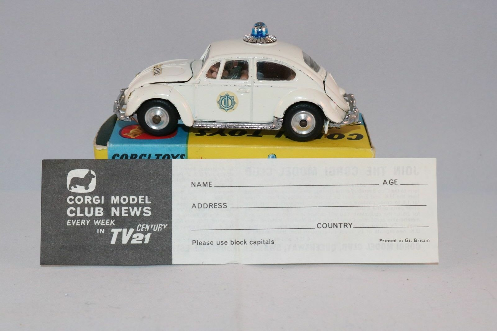 Corgi Toys 492 Volkswagen European Police Car  in scarce politie stamped box