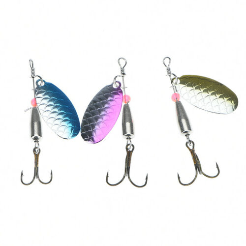 2X fishing lure spoon bait ideal for bass trout perch pike rotating fishing PIG$