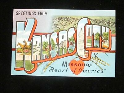 Large Letter Postcard  Vintage Linen Postcard Greetings from KANSAS CITY Missouri Large Letters Postcard Used posted 1969