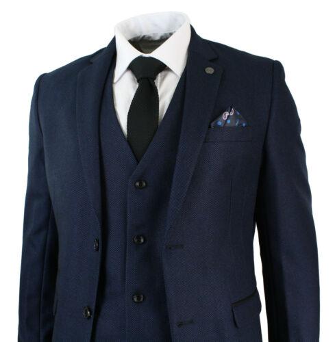 Mens Marc Darcy 3 Piece Smart Wedding Formal Suit Callum Dark Blue