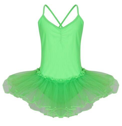 Neon Green Spandex High Shine Lycra Girls Strappy Leotard Tutu Ballet Dance 2//8y