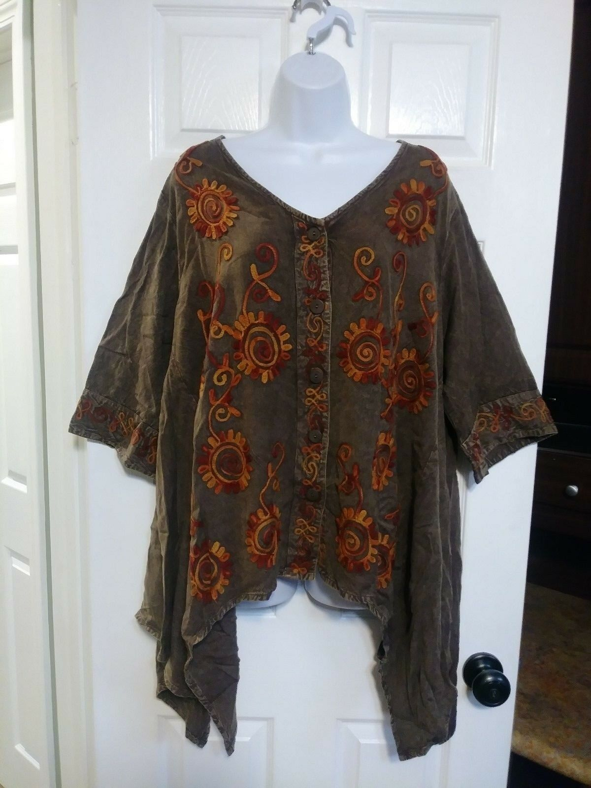 XL 1X SACrot THREADS PLUS TUNIC TOP BOHO  EMBROIDErot A-LINE 3 4 SLEEVE