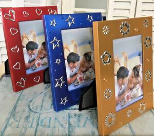 Fotorahmen-Rot-Blau-Gold-Motive-Kinder-Familie-Bilderrahmen-10x15cm-stehend