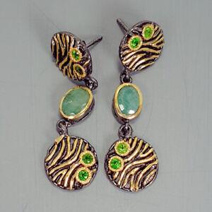 Emerald-Earrings-Silver-925-Sterling-Vintage7x5mm-E38146