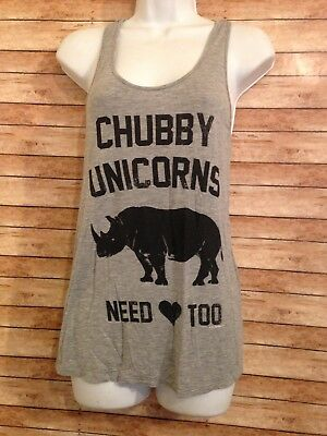chubby unicorns need love too tank top size s