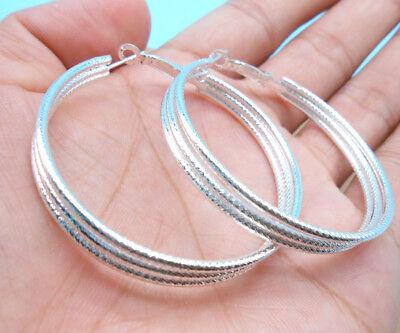 Wholesale Women Jewelry 925 Sterling Silver Plated Mosaics Hoop Dangle Earring