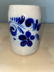Vintage Germany Grey/Blue Stoneware Ceramic Salt Glaze Mug Beer Stein Flowers