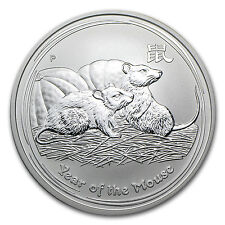 2008 1 oz Silver Australian Perth Mint Lunar Year of the Mouse Coin - SKU #28828