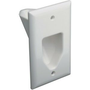 DataComm-45-0001-WH-1-Gang-Low-Voltage-Recessed-Wall-Plate-White