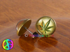 Marijuana Pot Leaf Cannabis Ear Stud Earrings Mens Womens Jewelry Gift Gifts