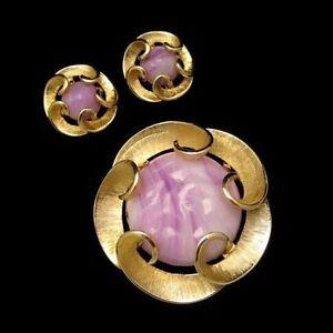 MARVELLA-Vintage-Purple-Swirl-Art-Glass-Brooch-Pin-Earrings-Matte-Gold-Plated