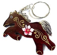 Porte clé clef Cheval Poney Bois Artisanal Fleur wooden key holder horse cle
