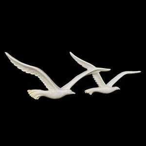 Mid-Century Modern White Seagulls Birds in Flight Wall Hanging Art by Homco