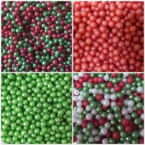 Details about 30g Christmas Red Green White Edible Pearls Non Pareils  Dragees Sugar Balls Cake