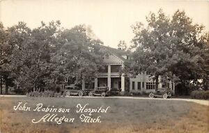 F35-Allegan-Michigan-RPPC-Postcard-c1920s-John-Robinson-Hospital
