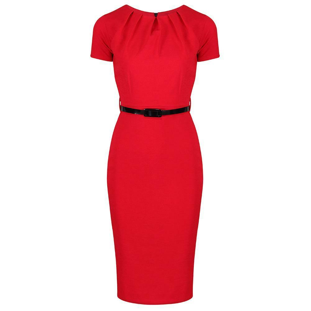 1940s Short Sleeve Red Belted Pencil Office Dress