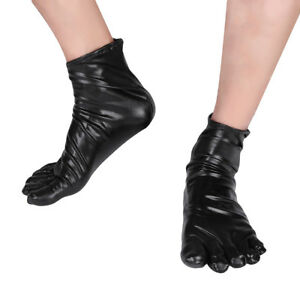 1 Pair Latex Mens Women/'s Patent Leather Short Toe Socks Fancy Cosplay Costumes