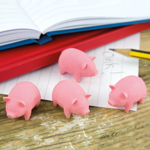 Bacon Scented Pig Shaped Erasers Rubbers Novelty Stationery Stocking Filler Gift