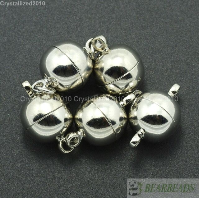 10 Sets Silver Gold Pewter Plated Strong Magnetic Round Ball Connector Clasps