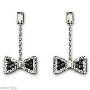 Image Is Loading Swarovski Sue Pierced Earrings Black White Bow Tie