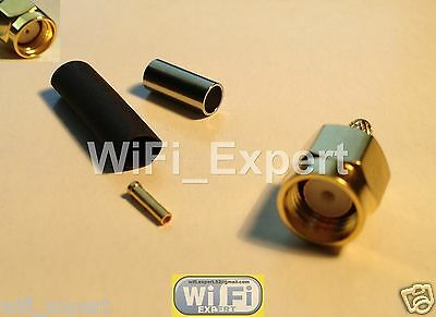 100 RP-SMA Plug (female pin) Crimp Connector for LMR100 RG174 RG179 RG316 RG188