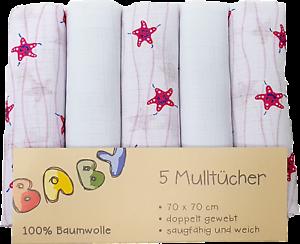 70x70 cm Seestern Mullwindeln // Spucktücher // Mulltücher 5er Pack