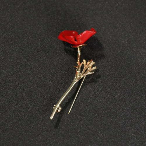 EG/_Mohnblume Brosche Retro Unisex Kragen Accessoire Anstecknadel Schmuck Adva