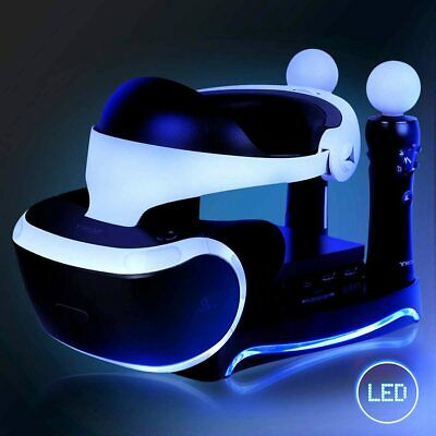Playstation VR PSVR Dual Charging Station Display Stand USB LED Headset Bracket | eBay