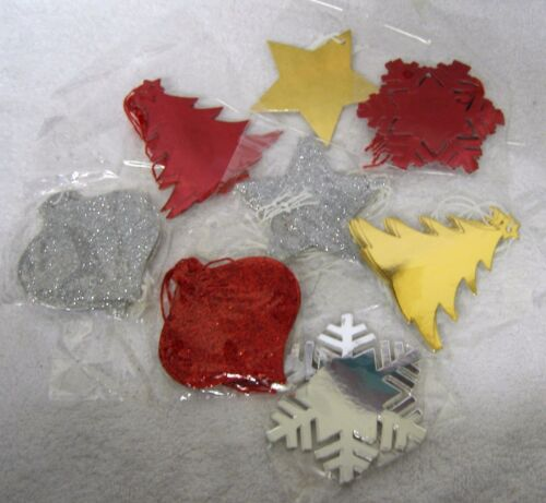 30 Assorted Christmas Gift Wrap Tags Glitter Foil Tree Snow Flake Star Bauble
