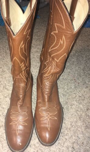 Larry Mahan Mens Cowboy Boots Brown Leather Colorf