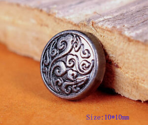 50PC-10MM-Silver-Floral-Engraved-Conchos-Handcraft-Stud-Rivet-Tacks-Decorative