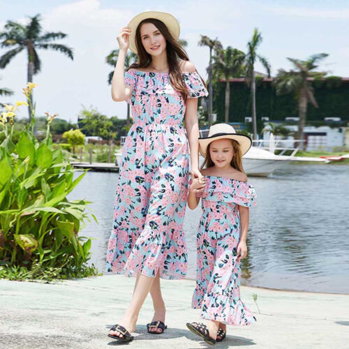 Family Dress Mother and Daughter Matching Girls Daughter Outfits Floral Dresses