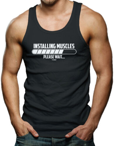 Gym Workout Exercise Men/'s Tank Top T-shirt Installing Muscle…Please Wait