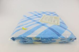 Vintage-Sears-Perma-Prest-Muslin-Twin-Sized-Flat-Sheet-Rattan-Blue-amp-White-New