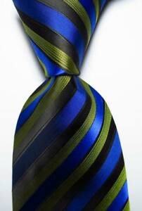 New-Classic-Striped-Black-Yellow-Blue-JACQUARD-WOVEN-100-Silk-Men-039-s-Tie-Necktie
