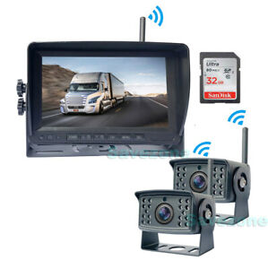 "2x HD 1080P Digital Wireless Backup Camera + 7"" Car Split DVR Monitor for RV Bus"